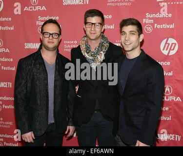 Park City, UT, USA. 27th Jan, 2015. Sam Slater, Paul Bernon, David Bernon at arrivals for RESULTS Premiere at the - Stock Image