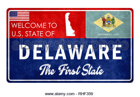 Welcome to Delaware - grunge sign - Stock Image
