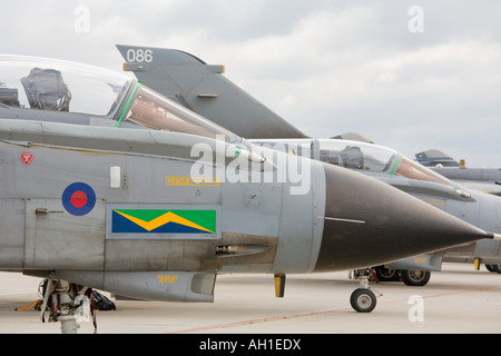 RAF Tornado aircraft lined and parked during airshow in Brno 2007 - Stock Image
