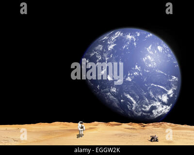 An astronaut works with his rover while exploring a barren moon. A large water covered world rises above the horizon. - Stock Image