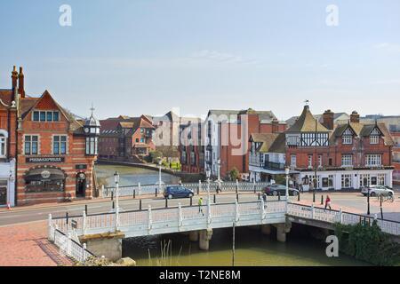 The River Medway and Tonbridge High street, Kent, England - Stock Image