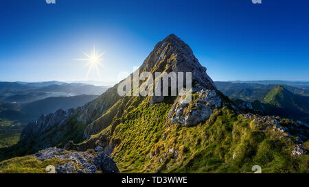 Panorama of Anboto mountain peak at sunny day - Stock Image
