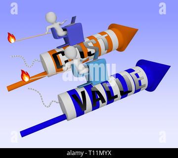 Cost Vs Value Rockets Denotes Return On Investment Roi. Spending And Expenses Versus Net Profit - 3d Illustration - Stock Image