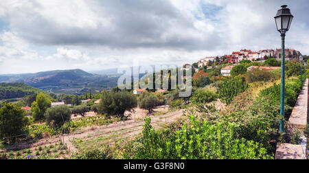 Panoramic view of a little village called Le Castellet in the south of France - Stock Image