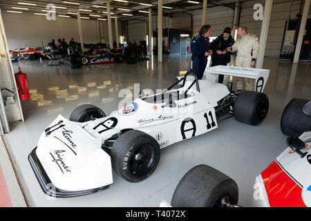 Historic Formula 2 Race Car previously driven by Clay Regazzoni, in the International Pit Garage, during the 2019 Silverstone Classic Media/Test Day - Stock Image