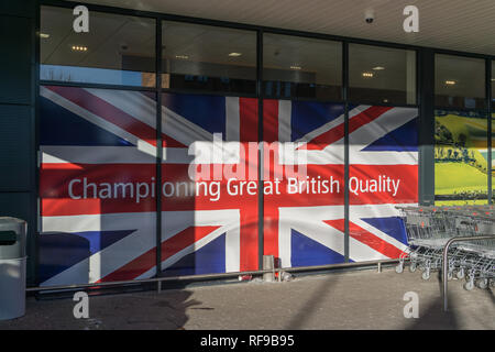 Union Jack display at an Aldi store with the words 'Championing Great British Quality', the firm's pledge to support UK products; Northampton, UK - Stock Image