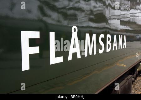 Flåmsbana carriage on the Flåm Railway line between Myrdal and Flåm - one of the world's steepest - Stock Image