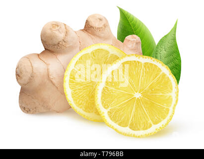 Isolated ginger and lemon pieces. Natural medicine, antiflu ingredients isolated on white background with clipping path - Stock Image