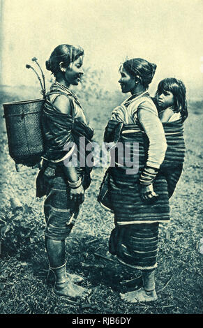 Two women and a child, Vietnam (then known as Annam). - Stock Image