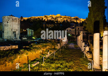 Athens, Greece.  Ancient Agora of Athens with Tower of the Winds. - Stock Image