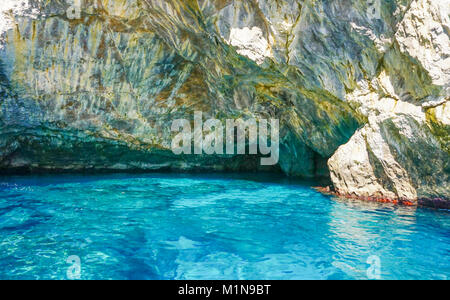The Grotta Verde (Green Grotto) on the coast on Capri  Italy - Stock Image