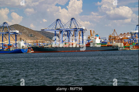 Container ship Nordautumn moored at container port in Piraeus Athens Greece Europe - Stock Image