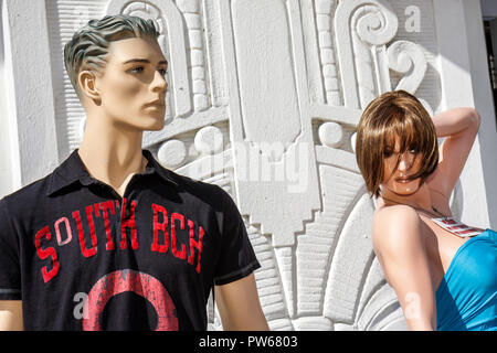 Miami Beach Florida Ocean Drive New Year's Day Art Deco District store shop shopping mannequins outdoors fashions trends femal - Stock Image