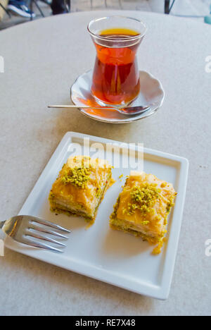 Baklava and tea, Istanbul, Turkey, Eurasia - Stock Image