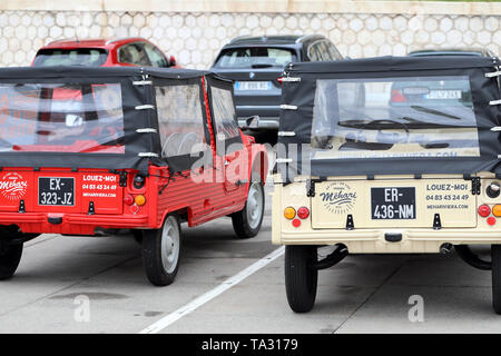Nice, France - May 21, 2019: Two Citroen Mehari (Rear View), French Retro Cars Parked In A Parking Lot In Nice On The French Riviera, Red And Beige Co - Stock Image