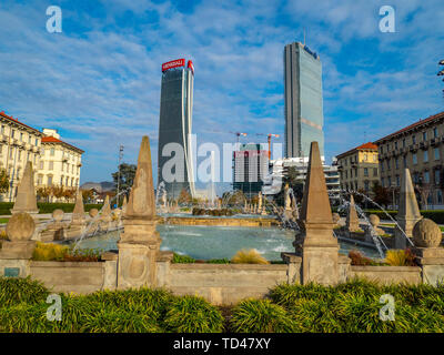 The Three Towers seen from the park, Milan, Lombardy, Italy, Europe - Stock Image