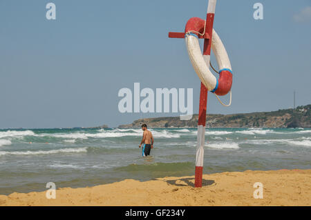 View of the beach at Kylios (also called Kumköy), a small resort on the Black Sea near Istanbul. - Stock Image