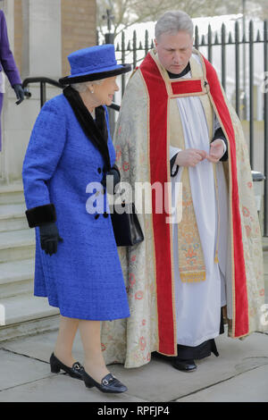 Wellington Barracks, London, UK. 22nd Feb, 2019.Her Majesty The Queen, Patron of The Royal Army Chaplains' Department, leaving The Guards' Chapel, Wellington Barracks, with The Revd Stephen Dunwoody CF, Senior Chaplain Household Division and London District. Friday 22nd February, 2019. Credit: amanda rose/Alamy Live News - Stock Image