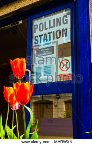 Merseyside,England UK. 03/05/2018 Knowsley Council Polling Station, Fairview Park, Halewood North, Liverpool Merseyside Knowsley, England UK. Flowers and plants adorn the entrance to  Community Centre where the 2018 Borough Elections are taking part, Credit: Christopher Canty Photography/Alamy Live News - Stock Image