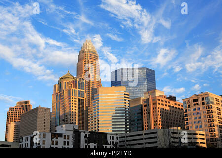 Charlotte, North Carolina, skyline in yellow afternoon light. - Stock Image