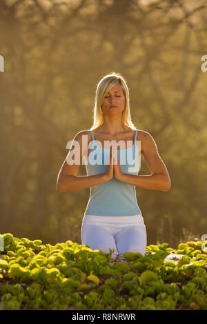 Attractive woman practices yoga at Makena, Maui, Hawaii. - Stock Image