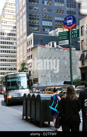 Bus stop, New York, USA - Stock Image