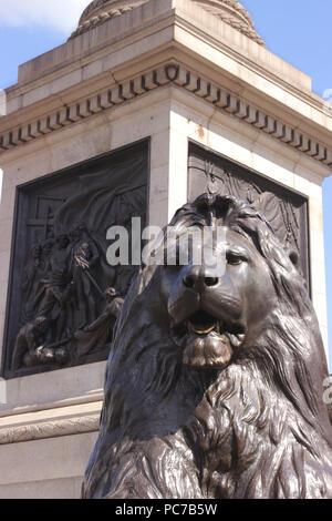Base of Nelsons Column Trafalgar Square London - Stock Image
