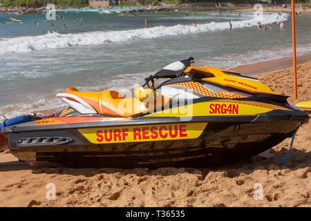 Australian surf rescue craft jet ski on Palm beach in Sydney,Australia - Stock Image