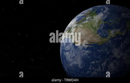 View of blue planet Earth in space with her atmosphere. 3d - illustration. - Stock Image