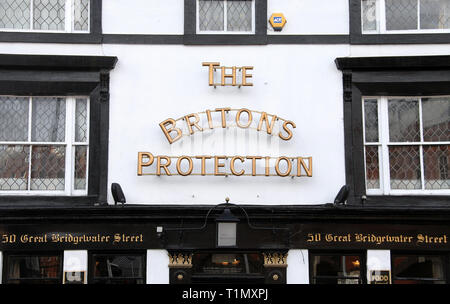 The Britons Protection in Manchester which is famous for its whisky collection - Stock Image