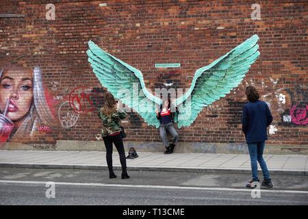Paul Curtis's 'For All Liverpool's Liver Birds' Street Art. - Stock Image