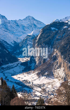 Lauterbrunnen valley, Berner Oberland, canton of Bern, Switzerland - Stock Image