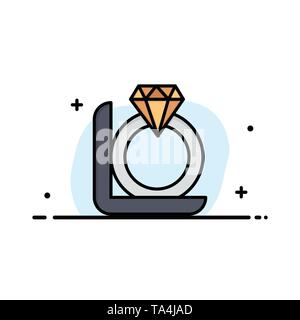 Ring, Diamond, Gift, Box Business Logo Template. Flat Color - Stock Image