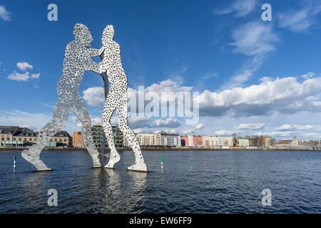 Molecule Man, River Spree, Clouds, Berlin , Germany - Stock Image