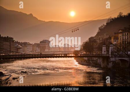 River Isere in Grenoble, France - Stock Image