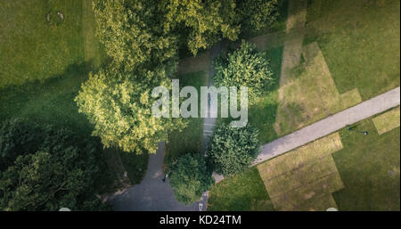 Aerial top down view of a tree lined cycling path in a park in South London - Stock Image