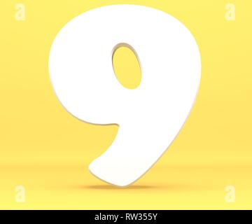3d rendering illustration. White paper digit alphabet character 9 nine font. Front view number 9 symbol on a yellow background. - Stock Image