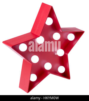 Red star with white light bulbs - Stock Image