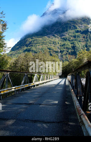 Bridge on State Highway 94, road to Milford Sound, Fjordland, South Island, New Zealand - Stock Image
