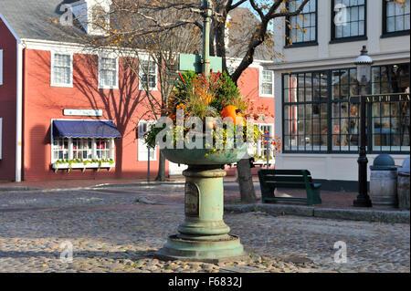 Fall Cornucopia in a town square, Nantucket, Cape Cod Massachusetts USA in autumn. - Stock Image