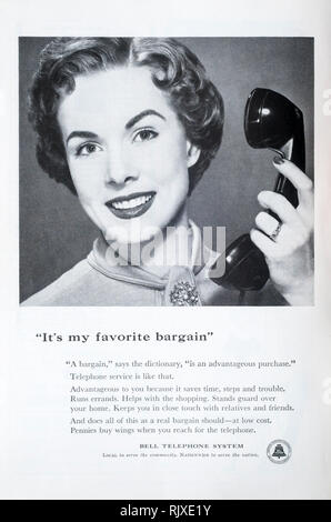 A 1955 magazine advertisement for the Bell Telephone System. - Stock Image