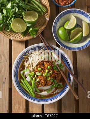 Lao khao soi. Noodle soup Laos Food - Stock Image