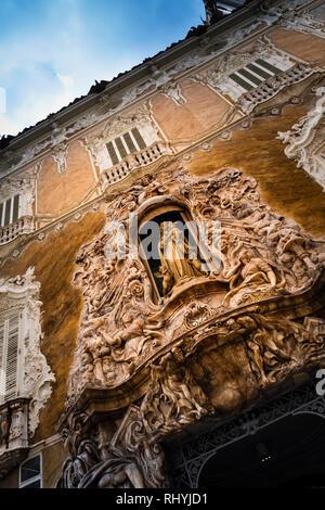 Decorative entrance to Marques de Dos Aguas Palace, Ceramics Museum, exterior in Valencia Spain - Stock Image