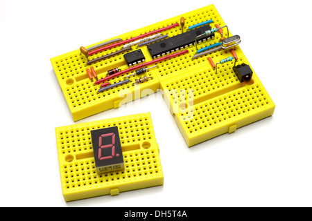 Prototype electronic circuit on modular mini breadboards - Stock Image