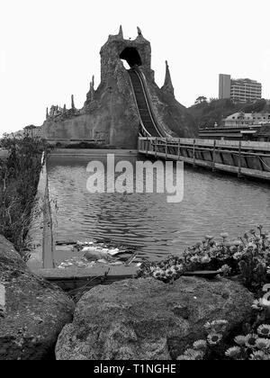 Derelict,Log Flume,The Rotunda,Amusement Park,Folkestone,Kent 1980c,Archive Image The Rotunda has now gone and has been returned to shingle beach. - Stock Image