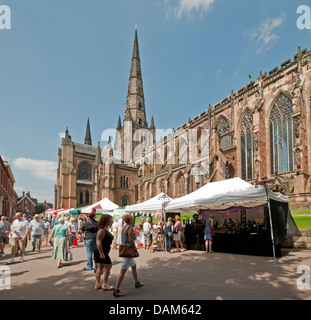 Stalls in the Close for the Florette Festival Market as part of The Lichfield Festival on Saturday 6th July 2013 - Stock Image