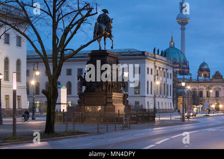 The statue of Frederick the Great, Berliner Dom, Fernsehturm & Unter den Linden at night, Mitte, Berlin, Germany - Stock Image