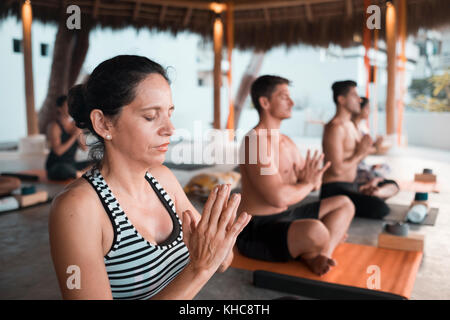 Yoga group retreat Puerto Vallarta - Mismaloya, Mexico - Stock Image