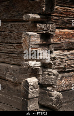 Dovetailed timber construction of a traditional chalet in the Loetschental, valley, Valais, Switzerland - Stock Image