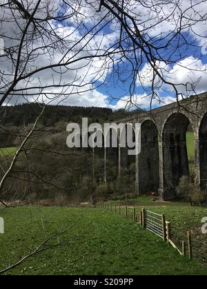 Viaduct with arches carrying an abandoned railway through the English countryside. - Stock Image
